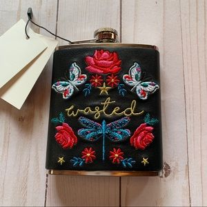 Faux Leather Wrapped Embroidered Flask